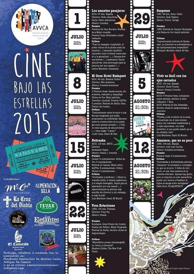 Programación del Cine Bajo las Estrellas Cuenca 2015