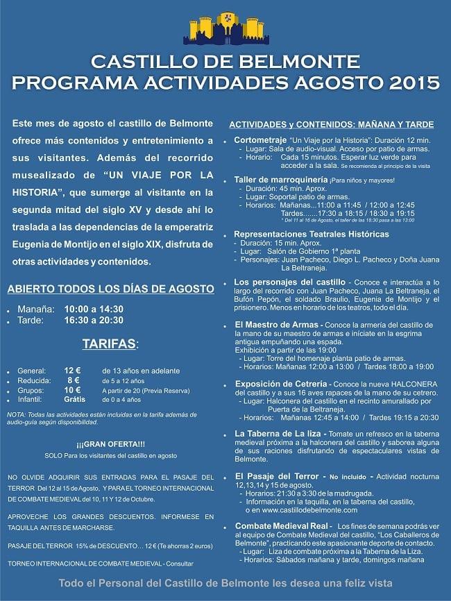 Cartel de las actividades del Castillo de Belmonte