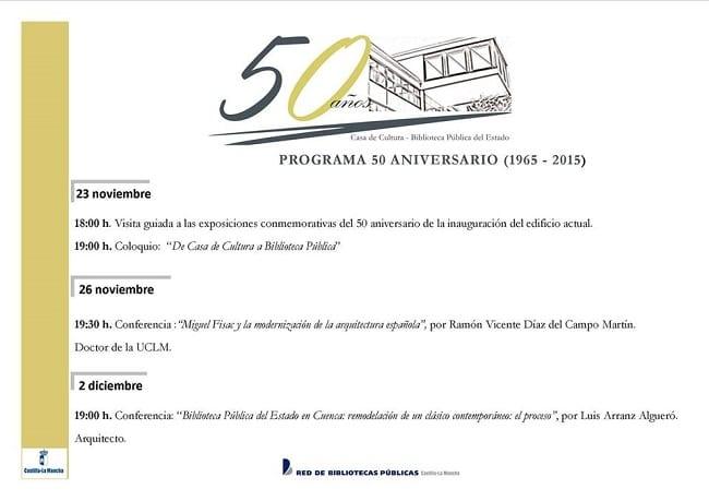 Programa 50 aniversario biblioteca pública del estado de Cuenca
