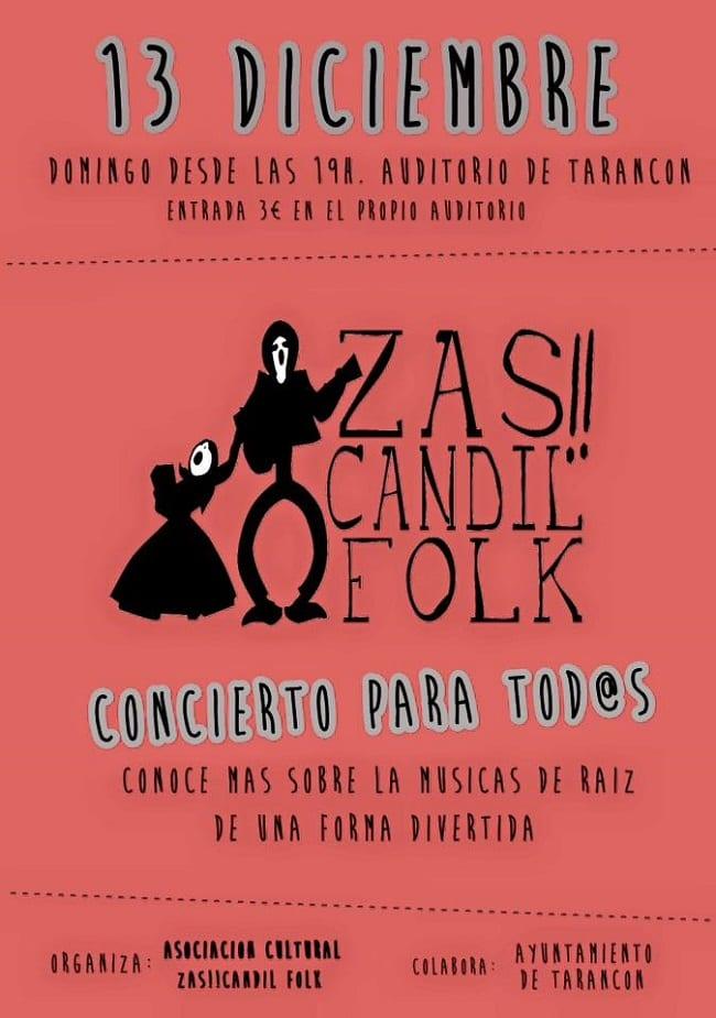 Cartel de Zas!!Candil Folk, concierto diciembre 2015