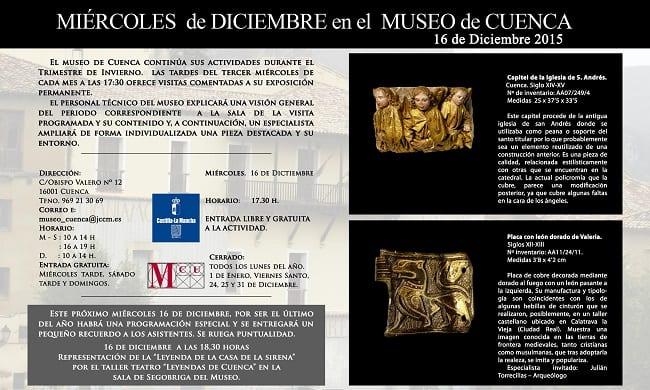 Programación en el museo de Cuenca en diciembre de 2015