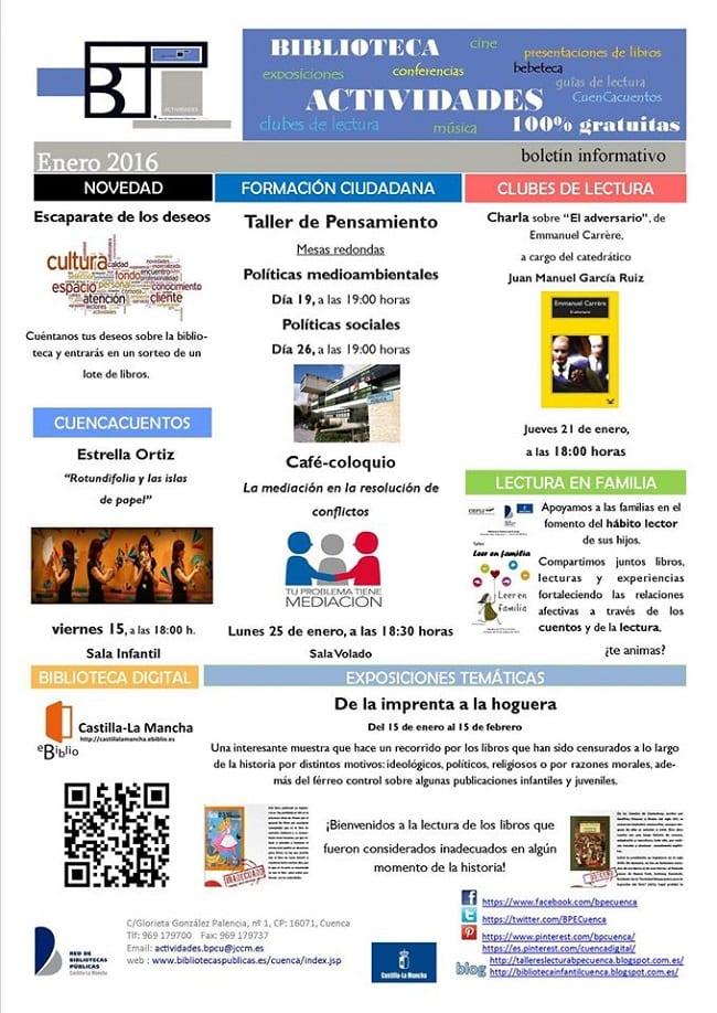 Actividades de la biblioteca de Cuenca en enero de 2016