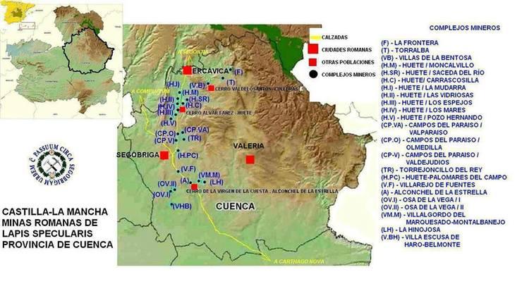 Mapa de las minas de lapis specularis en Cuenca