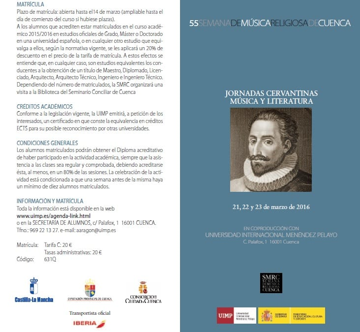 Música y literatura en las Jornadas Cervantinas 2016 de Cuenca