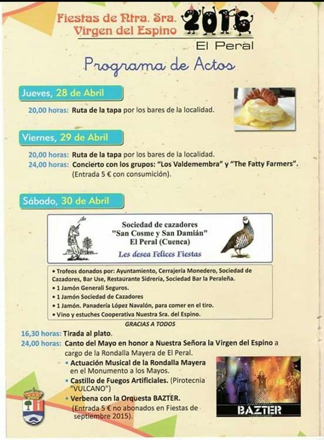 Programa de fiestas 2016 en El Peral
