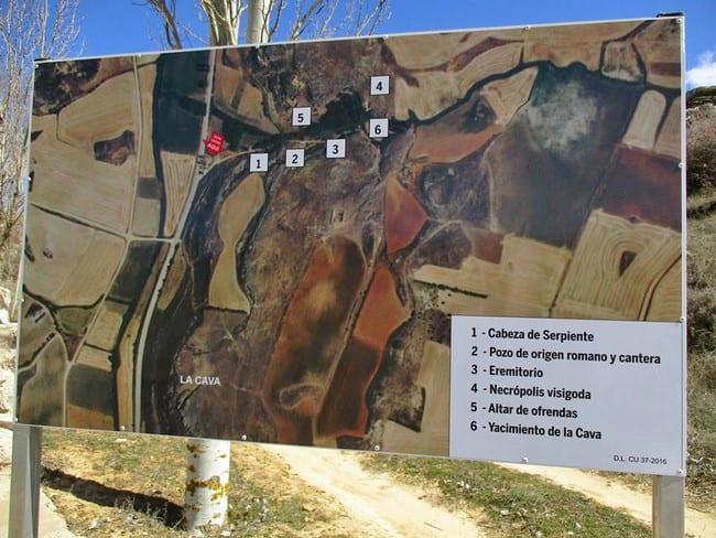 Mapa del yacimiento de La Cava