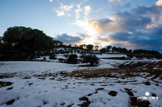 Los campos de Valverde de Júcar con un manto de nieve