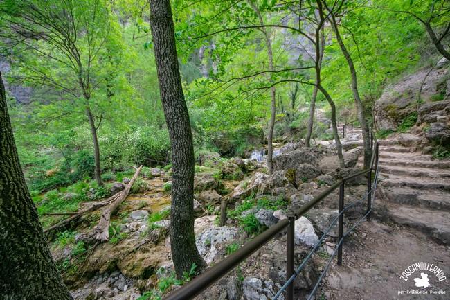 La parte final del camino está llena de escaleras de subida a las cascadas